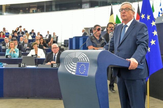 Předseda Evropské komise Jean-Claude Juncker při projevu o stavu Unie