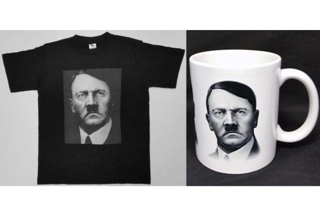 Nakladatelství Naše vojsko prodávalo trička a hrnky s Adolfem Hitlerem