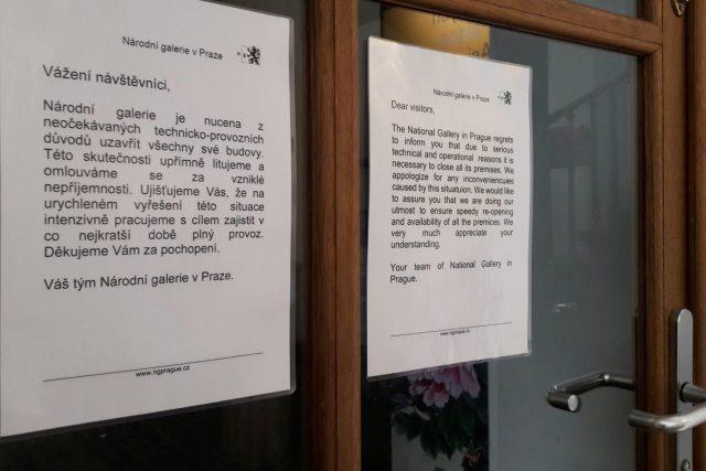 Národní galerie zavřela kvůli sporu s bezpečnostní agenturou všechny budovy v Praze.