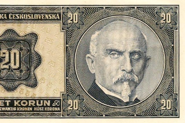 Alois Rašín na dvacetikorunové bankovce z roku 1926