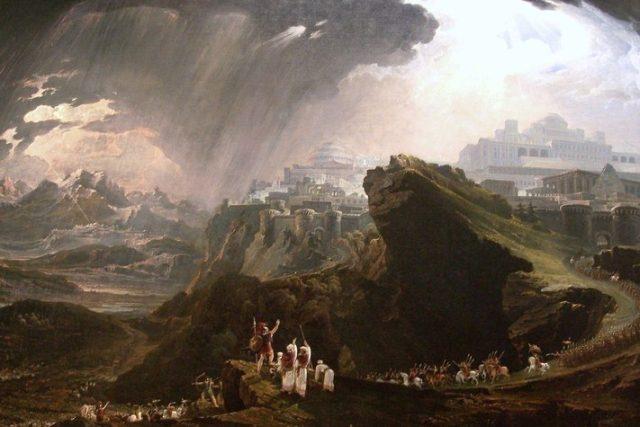 Vůdce Izraelitů Jozue přikazuje Slunci zastavit, aby prodloužil den