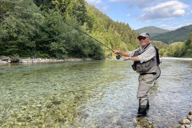 Claude Fabrin jezdí rybařit do okolí slovinského města Luče | foto: Kateřina Havlíková,  Český rozhlas,  Český rozhlas