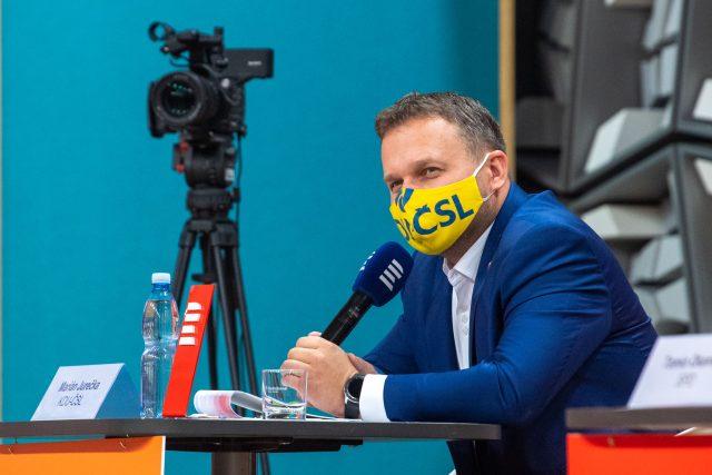 Předseda KDU-ČSL Marian Jurečka během předvolební superdebaty lídrů parlamentních stran na Radiožurnálu a Plusu | foto: Khalil Baalbaki,  Český rozhlas