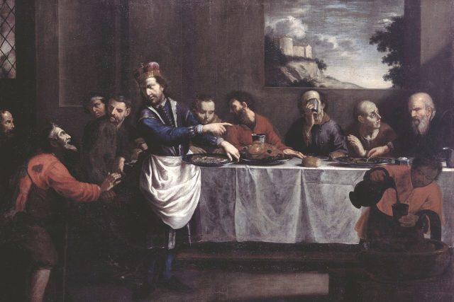 Jan Jiří Heinsch,  Svatý Václav přisluhuje u stolu chudým   foto: Galerie moderního umění Roudnice nad Labem