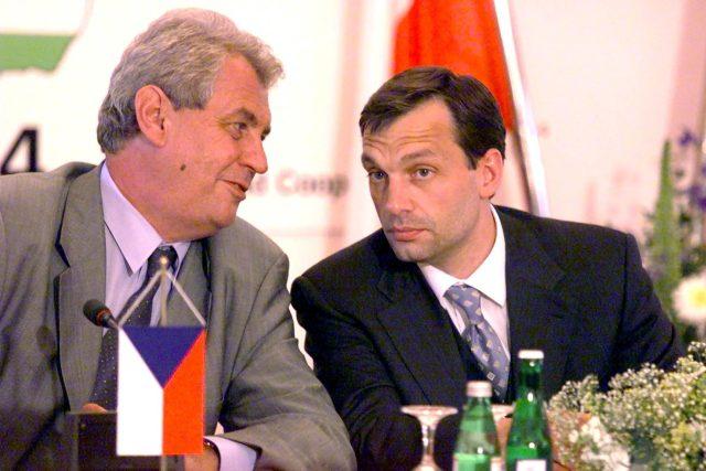 Miloš Zeman a Viktor Orbán ve Štiříně v červnu 2000