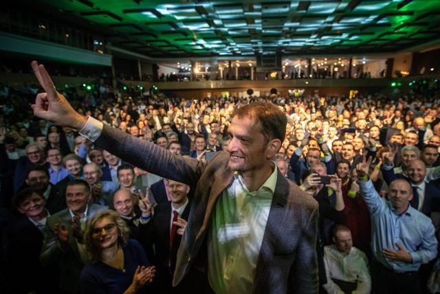 Vítěz parlamentních voleb na Slovensku a předseda hnutí OĽaNO Igor Matovič