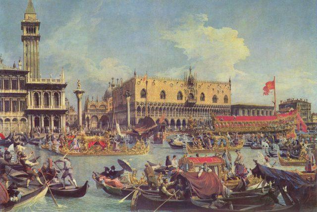 Návrat Bucintora do přístavu na svátek Nanebevstoupení,  1732   foto:  Canaletto,  Wikimedia Commons,  CC0 1.0