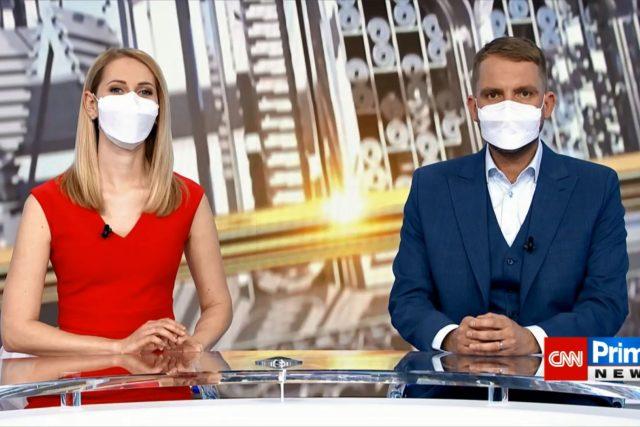 Moderátoři ranního vysílání CNN Prima News Soňa Porupková a Libor Bouček