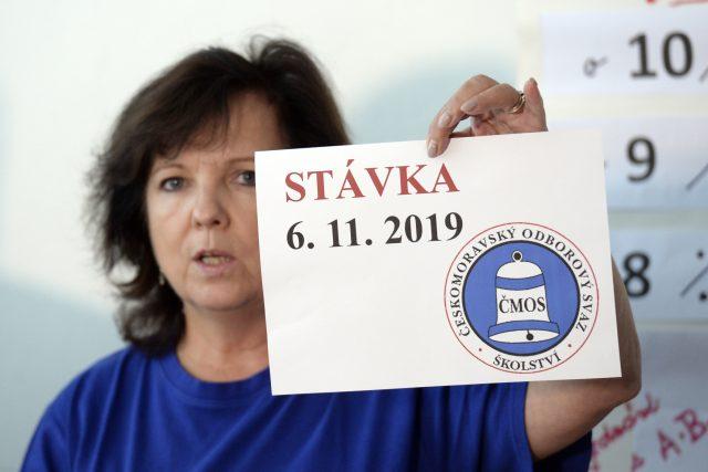 Místopředsedkyně Českomoravského odborového svazu pracovníků školství Markéta Seidlová na tiskové konferenci k vyhlášení stávky ve školách