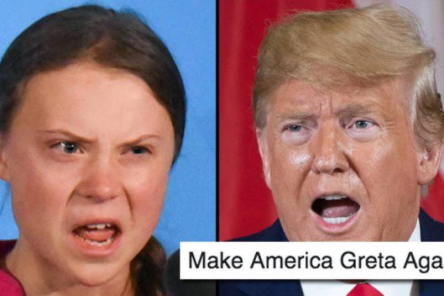 Mem s Gretou Thunberg a Donaldem Trumpem