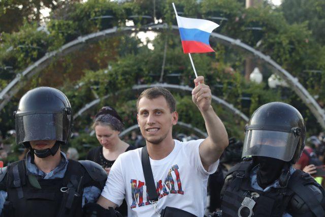Zásah proti demonstrantům v Moskvě