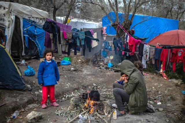 Uprchlíci v táboře Moria na ostrově Lesbos, Řecko