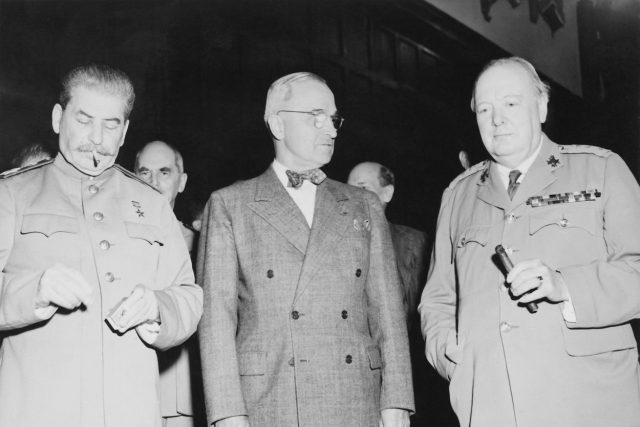 Josif Stalin, Harry Truman a Winston Churchill