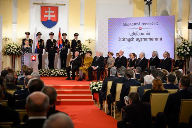 Slovenská prezidentka Zuzana Čaputová udělovala státní vyznamenání