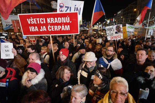Demonstrace na Václavském náměstí 10. prosince 2019
