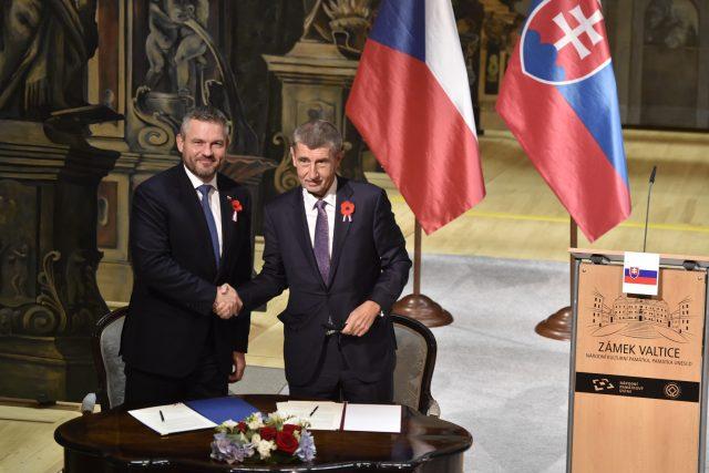 Česká a slovenská vláda společně zasedaly na zámku ve Valticích. Na snímku premiéři Andrej Babiš a Peter Pellegrini