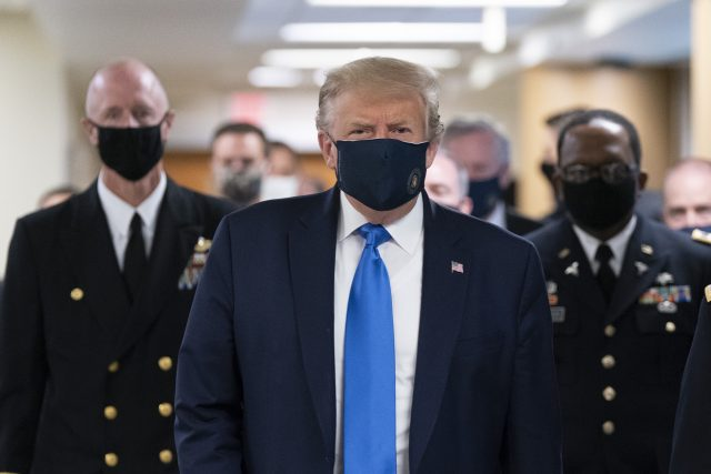 Donald Trump (arrives at Walter Reed to visit with wounded military members)
