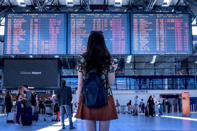 Letiště, hala, tabule, zpoždění, letadlo, cestování