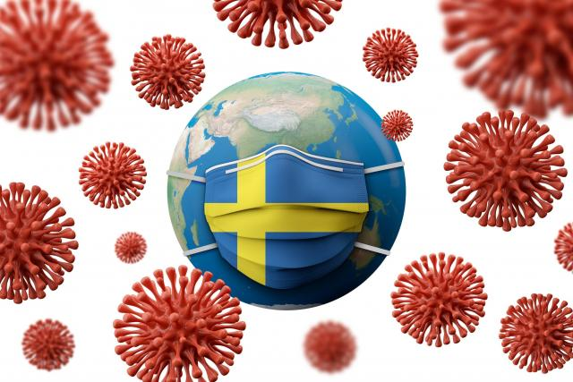 Švédsko a koronavirus COVID-19 (Sweden flag protective medical mask)