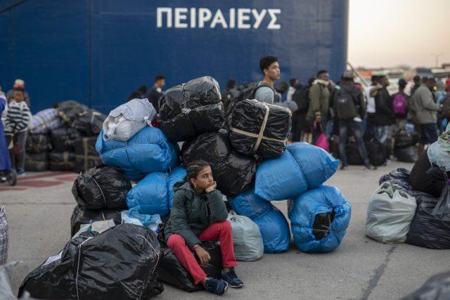 Migranti v řeckém městě Pireus