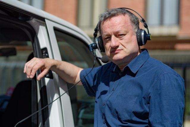 Jan Konvalinka u přenosového vozu