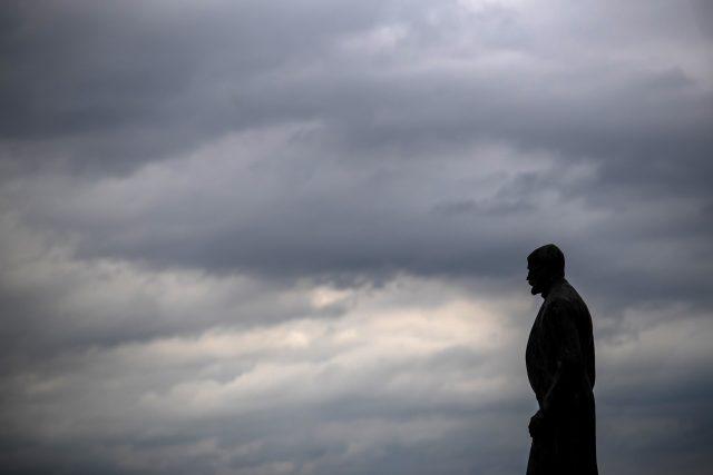 Tomáš Garrique Masaryk na Hradčanském náměstí v Praze