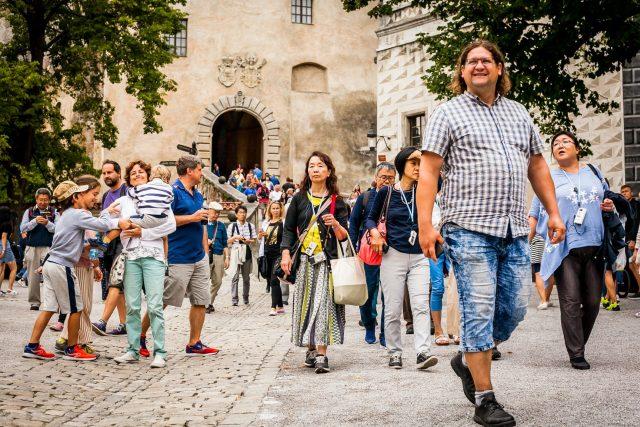 Zámek Český Krumlov, turisté, památky, návštěvnost, letní sezóna