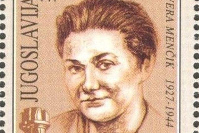 Jugoslávská známka s Věrou Menčíkovou