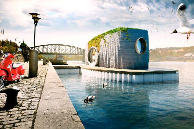 Dům Prvok na Vltavě u Železničního mostu ve vizualizaci