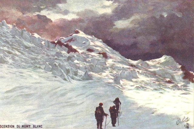 Výstup na Mont Blanc  (1908)   foto: autor neznámý,  Wikimedia Commons,  CC0 1.0