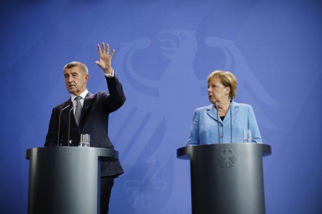 Andrej Babiš a Angela Merkelová v Berlíně