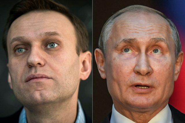 Ruský opoziční politik Alexej Navalnyj a ruský prezident Vladimir Putin