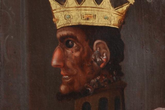 Václav IV. - imaginární hanlivá podobizna složená z výjevů legendy o sv. Janu Nepomuckém (konkrétně jeho umučení a smrt).