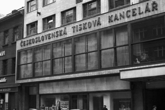 Budova ČTK v Opletalově ulici v Praze, listopad 1948