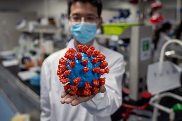 Model koronaviru v pekingské laboratoři