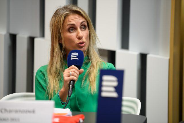 Dita Charanzová, kandidující do Evropského parlamentu za hnutí ANO, při debatě na Českém rozhlasu v květnu 2019.