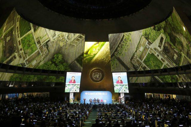 Greta Thunbergová při projevu v OSN