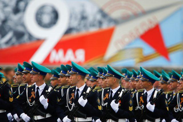 Vojenská přehlídka 9. května 2019 na Rudém náměstí v Moskvě