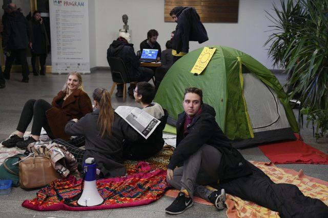 Studentská okupační stávka za klima na Filozofické fakultě UK