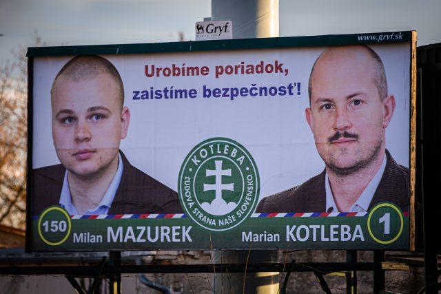 Předvolební billboardy Kotlebovy Ľudové strany Naše Slovensko
