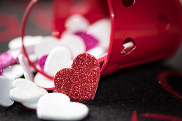 Srdce, Valentýn, láska, dekorace, červená