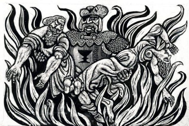 Jan Žižka zachraňující muže a ženu z plamenů
