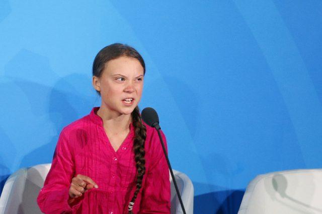 Aktivistka Greta Thunbergová na klimatickém summitu OSN