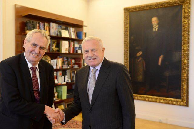 Prezident Miloš Zeman a exprezident Václav Klaus