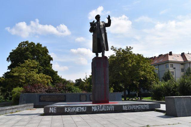 Pomalovaná socha maršála Ivana Koněva v Praze 6 Dejvicích | foto: Facebook Praha 6