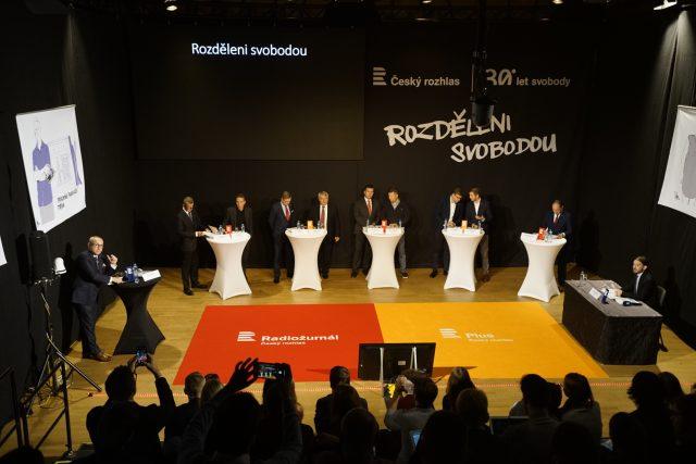 Debata Rozděleni svobodou za účasti předsedů devíti parlamentních stran