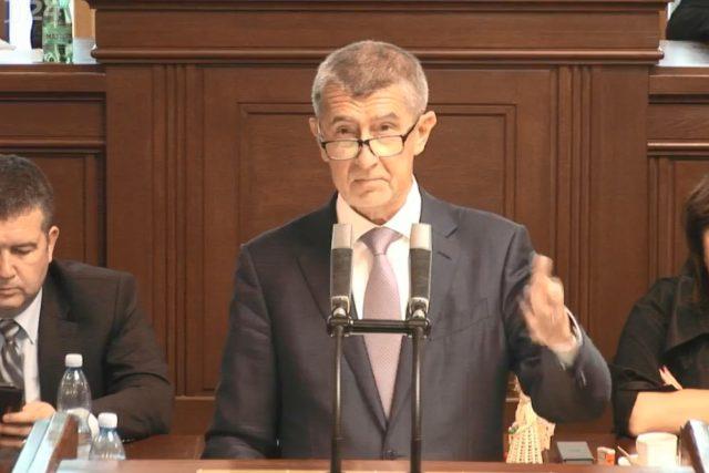 Andrej Babiš (ANO) ve sněmovně k údajnému střetu zájmů.