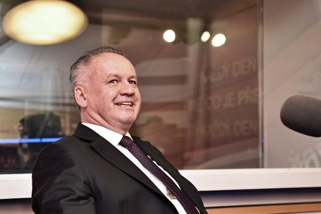 Slovenský prezident Andrej Kiska ve studiu Českého rozhlasu Radiožurnál.