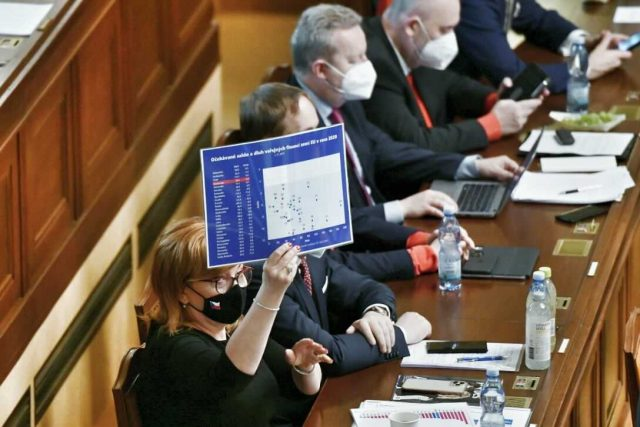 Ministryně financí Alena Schillerová (za ANO) doplnila premiérův projev o několik grafů