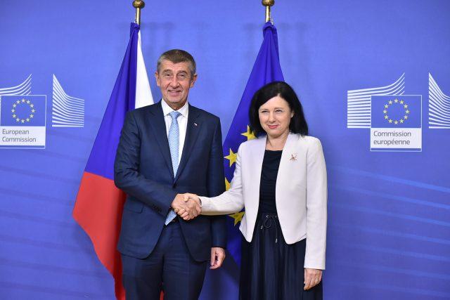 Premiér Andrej Babiš a eurokomisařka Věra Jourová